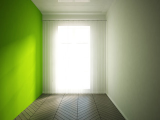 empty interior with a green wall and curtain