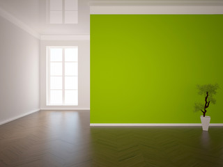 empty interior with a green wall and a tree