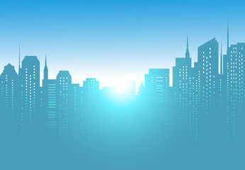 city background with sunrise and blue sky