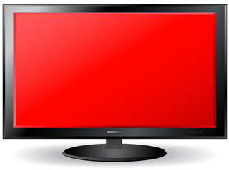 isolated red TV screen with place for text