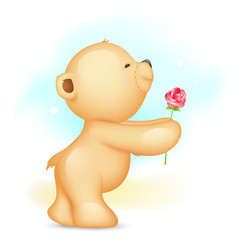 Teddy Bear proposing with Rose