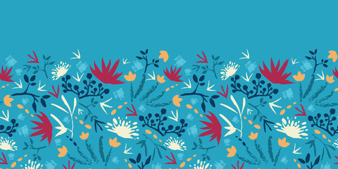 Vector painted abstract flowers and plants horizontal seamless