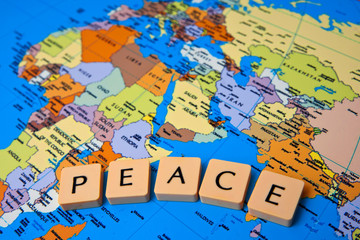 Aluminium Prints World Map world peace message