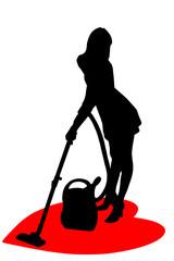 Zarys kobiety odkurzającej serce