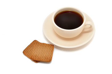 cup of coffee and cookies on a white background