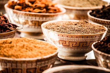 Spices and herbs in bowls.Food and cuisine ingredients.
