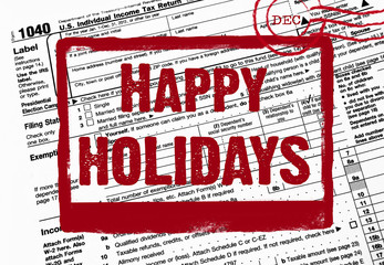 Happy Holiday stamp on tax form
