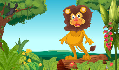 A jungle with a lion and a bird
