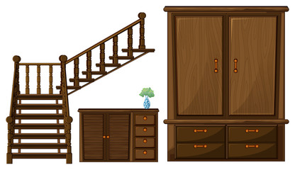 A stair and wooden furnitures