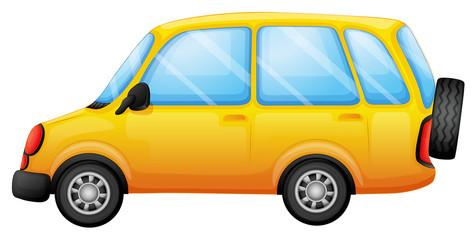 A yellow van