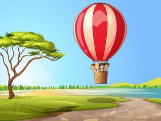 Canvas Prints River, lake Kids in a air balloon