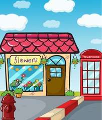 A flower shop, a fire hydrant and a telephone