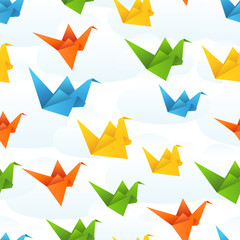 Deurstickers Geometrische dieren Origami paper birds flight abstract background.
