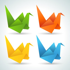 Foto auf AluDibond Geometrische Tiere Origami paper birds collection.