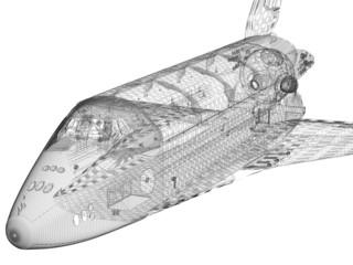 3D model of modern jet spaceship onwhite background