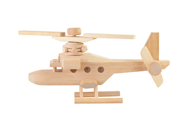 Helicopter wood toy isolated on white background