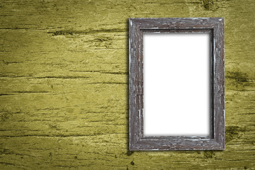 Old wooden photo  frame on wood texture wall