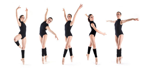 Collage of young dancer posing in different positions.