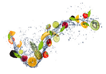 Wall Mural -  Mix of fruit in water splash, isolated on white background