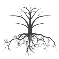 Tree with roots background vector concept