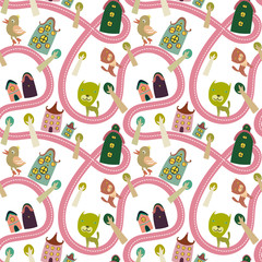 Printed roller blinds On the street Road seamless pattern with houses and animals
