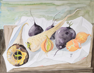 vegetables still life - original painting water color on paper