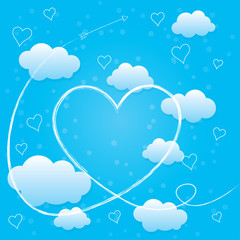 Valentines day card with hearts, arrow and volumetric clouds