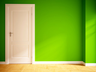 green empty interior with a white door