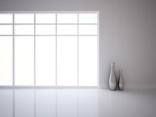 white empty interior with vases