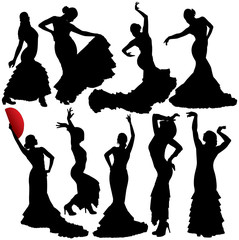 Flamenco vector silhouettes. Layered. Fully editable.