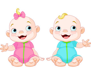 Canvas Prints Fairytale World Cute smiling twins