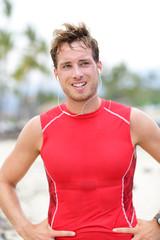 Athlete runner man sweating
