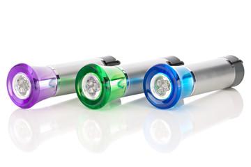 Three multi-colored LED flashlights