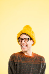 funny man portrait real people high definition yellow background