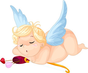 Printed kitchen splashbacks Fairytale World Cartoon cupid sleeping