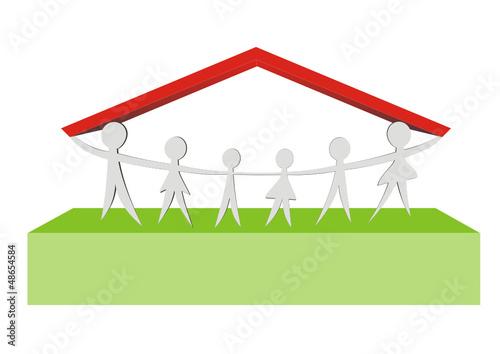 Menschen Unter Einem Dach Stockfotos Und Lizenzfreie Vektoren Auf