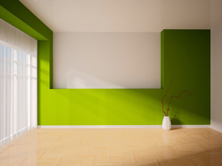 empty interior with a green wall and curtains