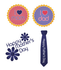 Set of mother/father's day signs