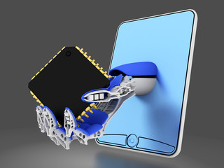 smartphone (mobile phone ) with micro chip