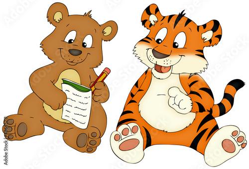 Bär Tiger Freunde Hausaufgaben Stockfotos Und Lizenzfreie Bilder