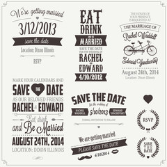 Fototapeten Weinlese-Plakat Set of wedding invitation vintage typographic design elements
