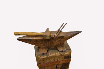 anvil hammer and pliers of blacksmith
