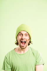 funny man portrait real people high definition green background