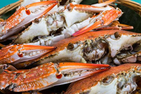 Close-up steamed crabs in basket