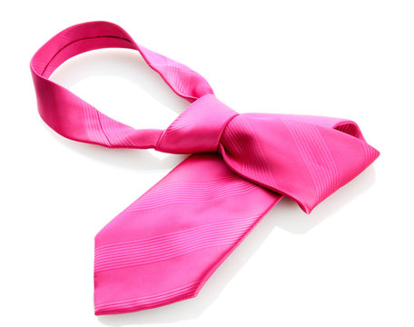 pink tie isolated on white