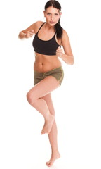 Runner woman Running fitness sport jogging smiling happy isolate