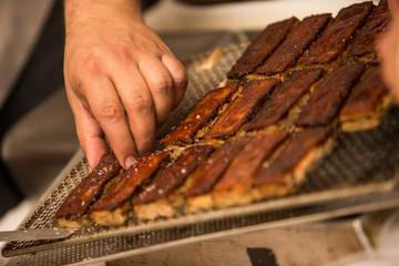 Preparacion de bocados de carne.