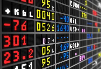 Colored stock ticker board on black