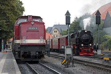 Wall Mural - Diesellokomotive und Dampflokomotive der Harzer Schmalspurbahnen