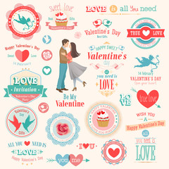 Wall Mural - Valentine`s Day set - labels, emblems and other elements.